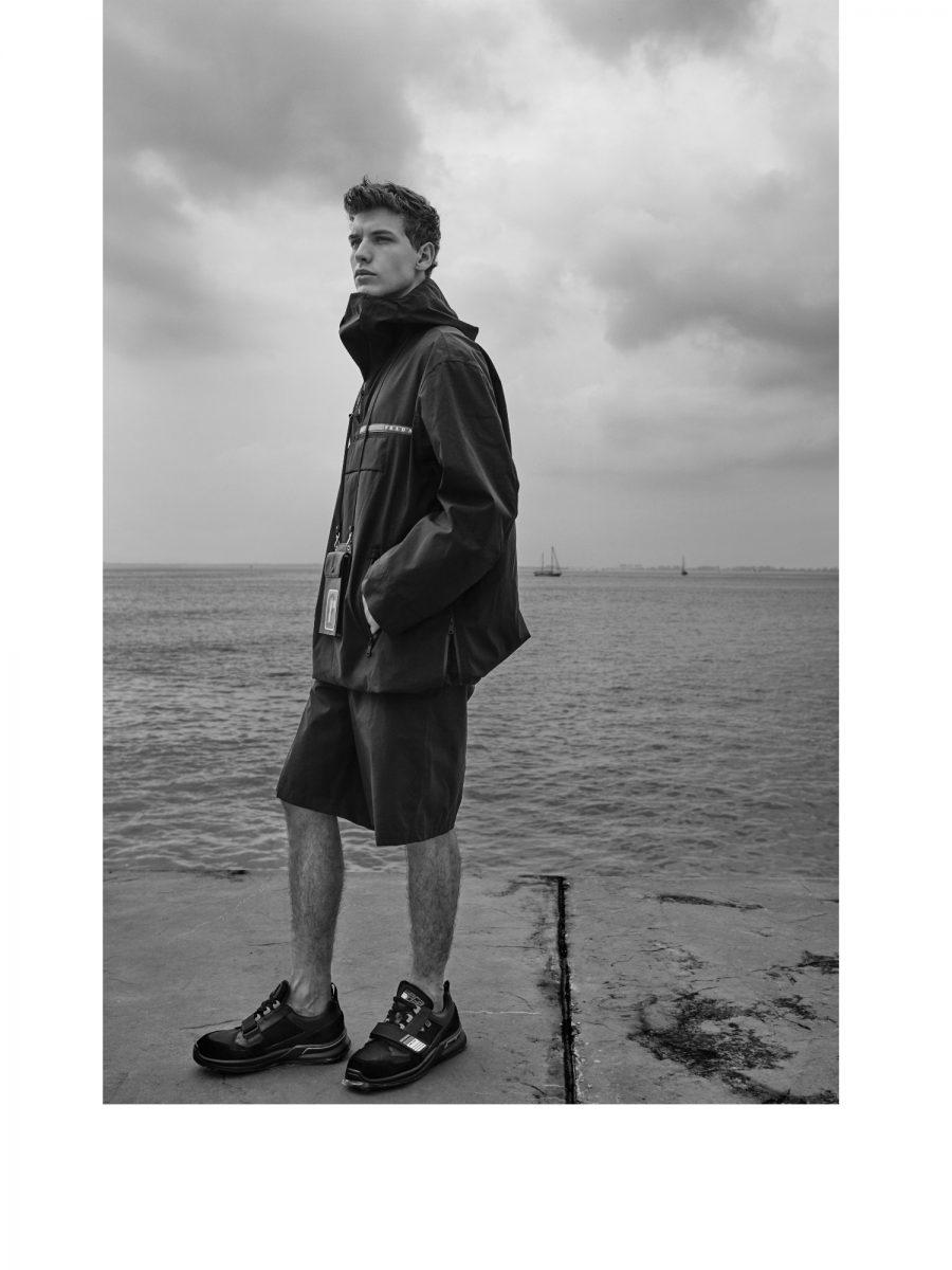 Prada Nylon jacket, padded nylon gabardine bermuda, black